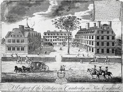 Facades of Colleges of Cambridge (Harvard University), United States of America, 18th Century--Giclee Print