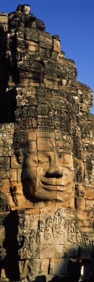Face Carved on Rocks in a Temple, Bayon Temple, Angkor, Cambodia--Photographic Print
