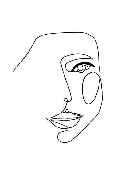 Face Line 1-Design Fabrikken-Art Print