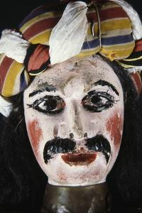 Face of Puppet from Opera Dei Pupi (Opera of Puppets), Acireale Handicrafts, Sicily, Italy, Detail
