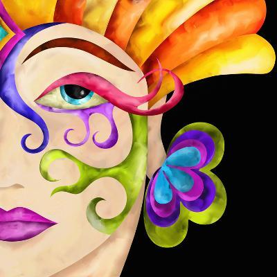 Face of Woman with Carnival Mask-goccedicolore-Art Print