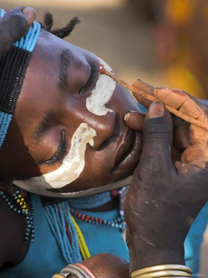 Face Painting with a Mixture of Clay, Turmi, Ethiopia-Jane Sweeney-Photographic Print