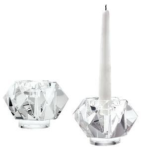Faceted Star Crystal Candleholders - Small. Set Of 2
