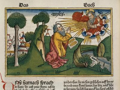 Facsimile Copy of Exodus 34 1-10 Moses Receives the Second Tablets with the Ten Commandments--Giclee Print