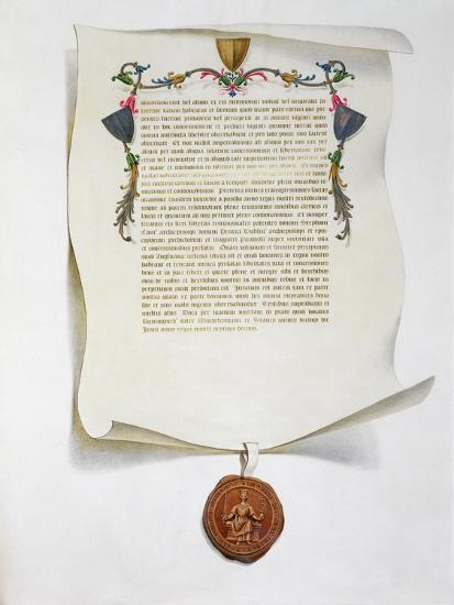 Facsimile edition of the Magna Carta, English charter, 1215 (1816)-Unknown-Giclee Print