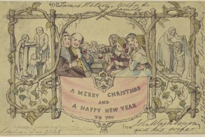 Facsimile Reproduction of the First Christmas Card-John Callcott Horsley-Giclee Print