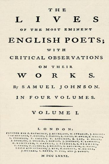 'Facsimile title-page (reduced) of Johnson's Lives of the Poets - as re-issued in separate form. T-Unknown-Giclee Print
