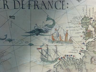 Facsmile of Whaling and Isle of Saint Brandon, Detail from a Portolan Map by Pierre Desceliers,…--Giclee Print
