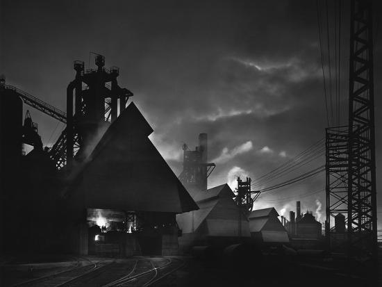 Factory Scene at Dusk, Baltimore, Maryland-A. Aubrey Bodine-Photographic Print