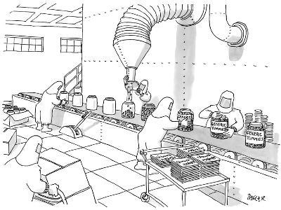 Factory workers dressed in hazmat suits fill containers labeled 'Generic Y? - New Yorker Cartoon-Jack Ziegler-Premium Giclee Print