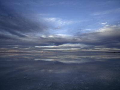 Fading Sunset Reflects Off the Still Surface of a Flooded Salt Lake-Jason Edwards-Photographic Print