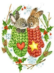 Cute Rabbit. Forest Animal. Christmas Card. Watercolor Winter Holidays Wreath Frame. by Faenkova Elena