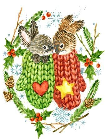 Cute Rabbit. Forest Animal. Christmas Card. Watercolor Winter Holidays Wreath Frame.