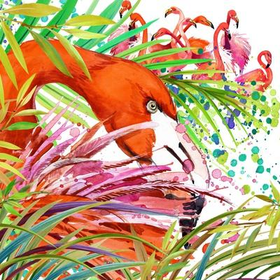 Tropical Exotic Forest, Green Leaves, Wildlife, Bird Flamingo Watercolor Illustration. Watercolor B