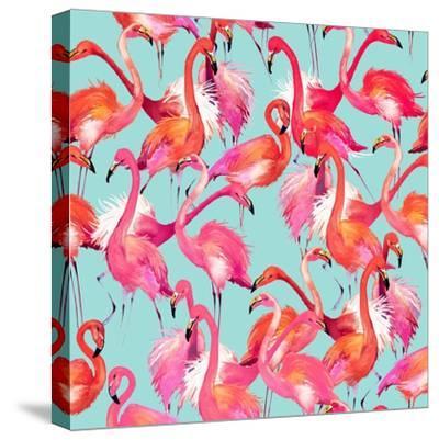 Watercolor Flamingo Seamless Pattern