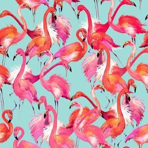 Watercolor Flamingo Seamless Pattern by Faenkova Elena