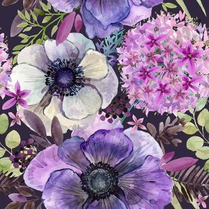 Watercolor Violet Flowers Seamless Pattern. Hand-Drawn Botanical Illustration. Vintage Floral Compo by Faenkova Elena