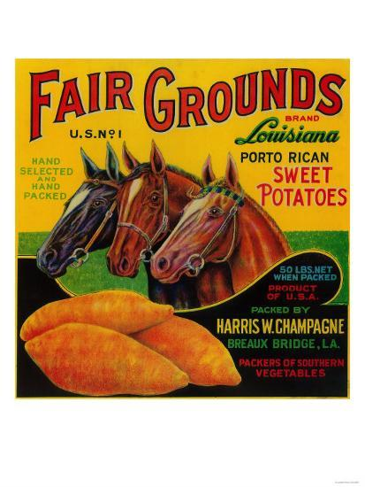 Fair Grounds Yam Label - Breaux Bridge, LA-Lantern Press-Art Print