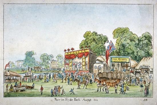 Fair in Hyde Park, Westminster, London, 1814-J Gordon-Giclee Print