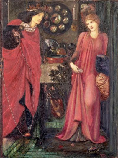 Fair Rosamund and Queen Eleanor (Mixed Media on Paper)-Edward Burne-Jones-Giclee Print