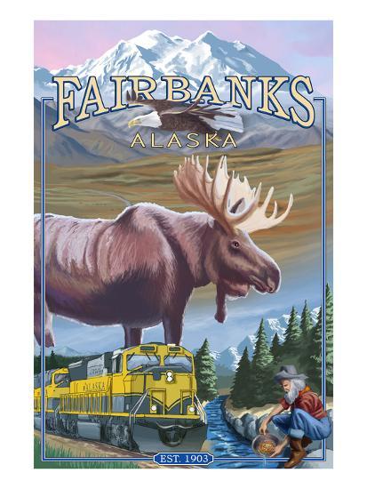 Fairbanks, Alaska - Montage Scenes-Lantern Press-Art Print