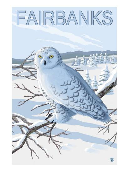 Fairbanks, Alaska, Snowy Owl Scene-Lantern Press-Art Print