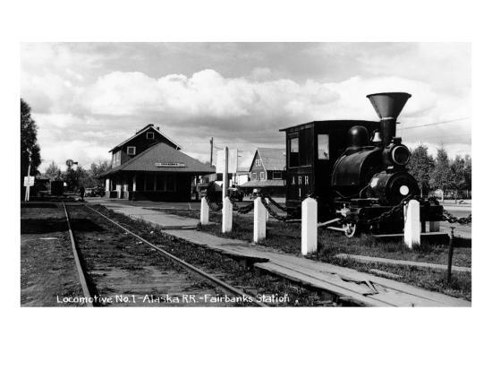 Fairbanks, Alaska - View of the Train Station-Lantern Press-Art Print