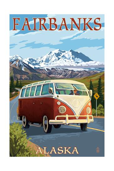 Fairbanks, Alaska - VW Van Cruise-Lantern Press-Art Print