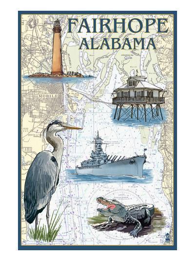 Fairhope, Alabama - Nautical Chart-Lantern Press-Art Print