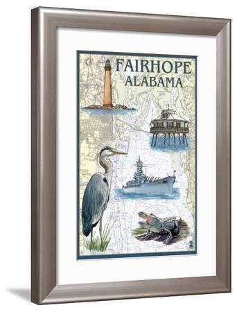 Fairhope, Alabama - Nautical Chart-Lantern Press-Framed Art Print