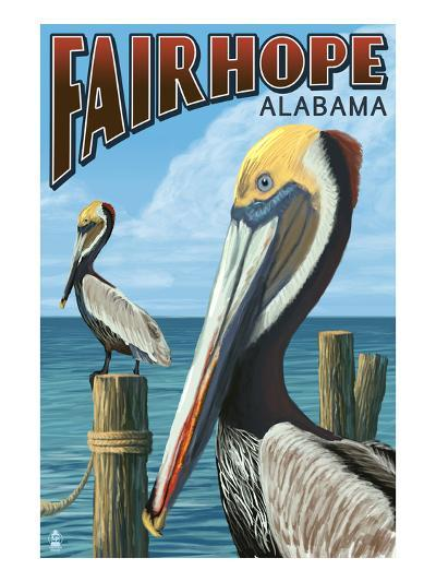 Fairhope, Alabama - Pelican Scene-Lantern Press-Art Print