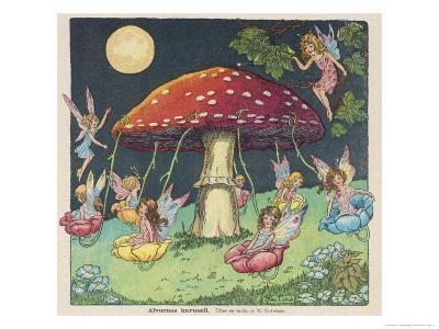 Fairies at Play, a Toadstool Makes a Convenient Merry-Go- Round-Mildred Entwhistle-Giclee Print