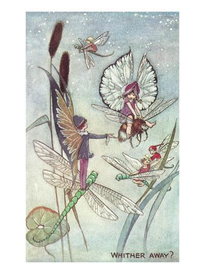 Fairies Riding Dragonflies and Bees--Art Print