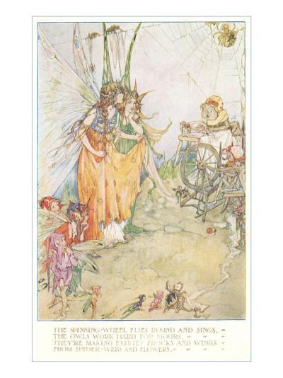 Fairies Spinning Spiderwebs--Art Print