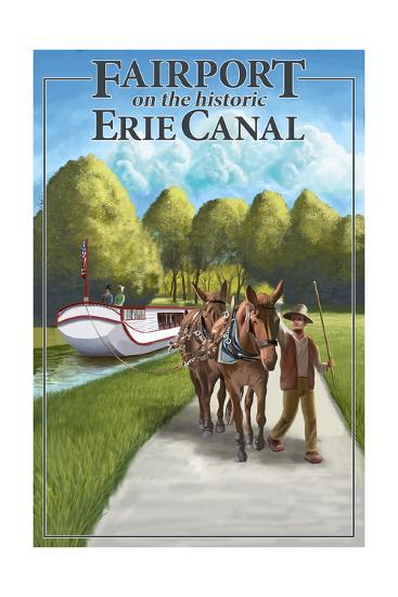 Fairport, New York - Horses Along Canal-Lantern Press-Art Print