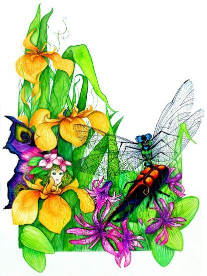 Fairy, Dragonfly and Beetle-Maylee Christie-Giclee Print