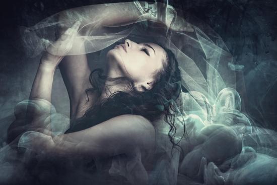 Fairy Like Fantasy Woman With Veil-coka-Art Print