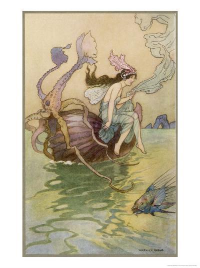 Fairy Riding a Nautilus-Warwick Goble-Giclee Print