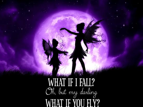 Fairy Sisters What If I Fall What If You Fly-Julie Fain-Art Print