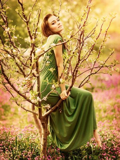Fairy-Tail Forest Nymph, Beautiful Sexy Woman at Spring Garden, Wearing Long Dress, Sitting on Bloo-Anna Omelchenko-Photographic Print
