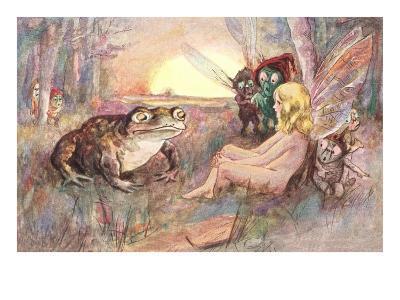 Fairy Talking to Frog--Art Print