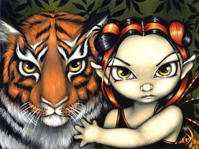 Fairy Taming a Tiger-Jasmine Becket-Griffith-Art Print