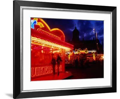 Fairyfloss Stand at Autumn Fair on Dam Square, Blur, Amsterdam, Netherlands-Richard Nebesky-Framed Photographic Print