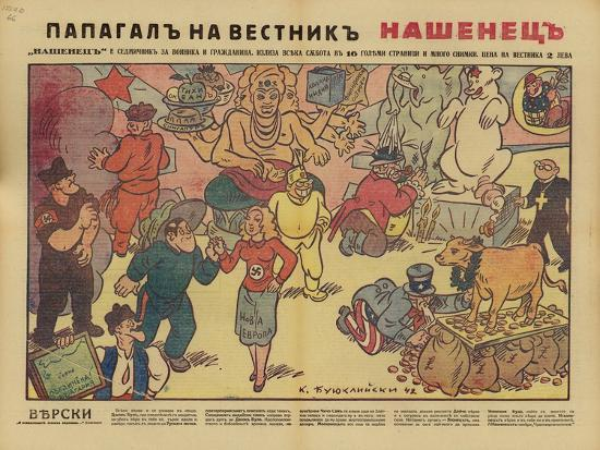 Faith, 18 April 1942, Bulgarian WW2 Political Cartoon--Giclee Print