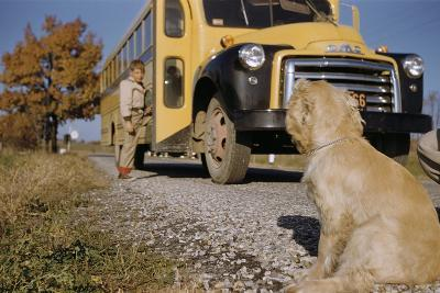 Faithful Dog Watching Boy Enter School Bus-William P^ Gottlieb-Photographic Print