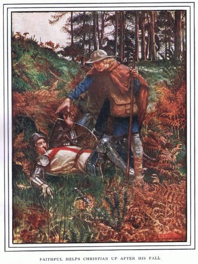 Faithful Helps Christian Up after His Fall-John Byam Liston Shaw-Giclee Print