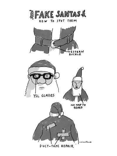 Fake Santas - New Yorker Cartoon-Michael Crawford-Premium Giclee Print