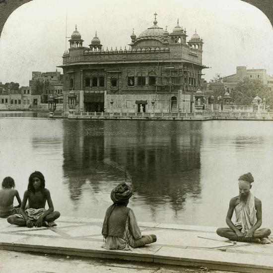 Fakirs at Amritsar, Looking South across the Sacred Tank to the Golden Temple, India, C1900s-Underwood & Underwood-Photographic Print