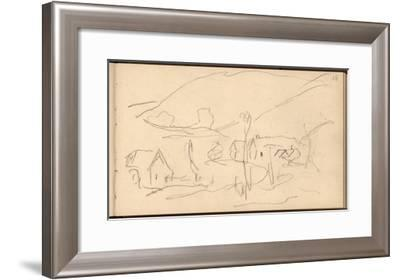 Falaise (Pencil on Paper)-Claude Monet-Framed Giclee Print