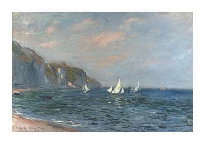 Falaises et Voiliers a Pourville-Claude Monet-Premium Giclee Print